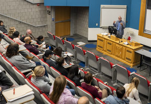 Nick Freudenberg delivering a lecture