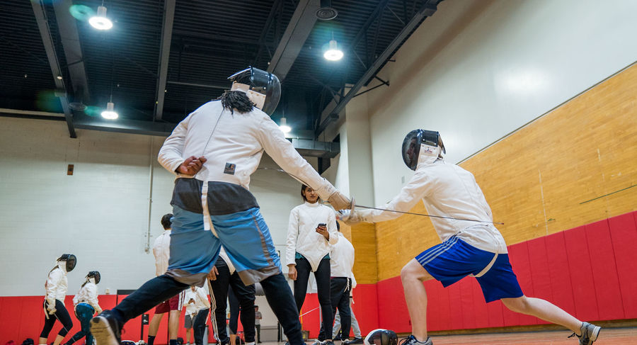 Two students fencing