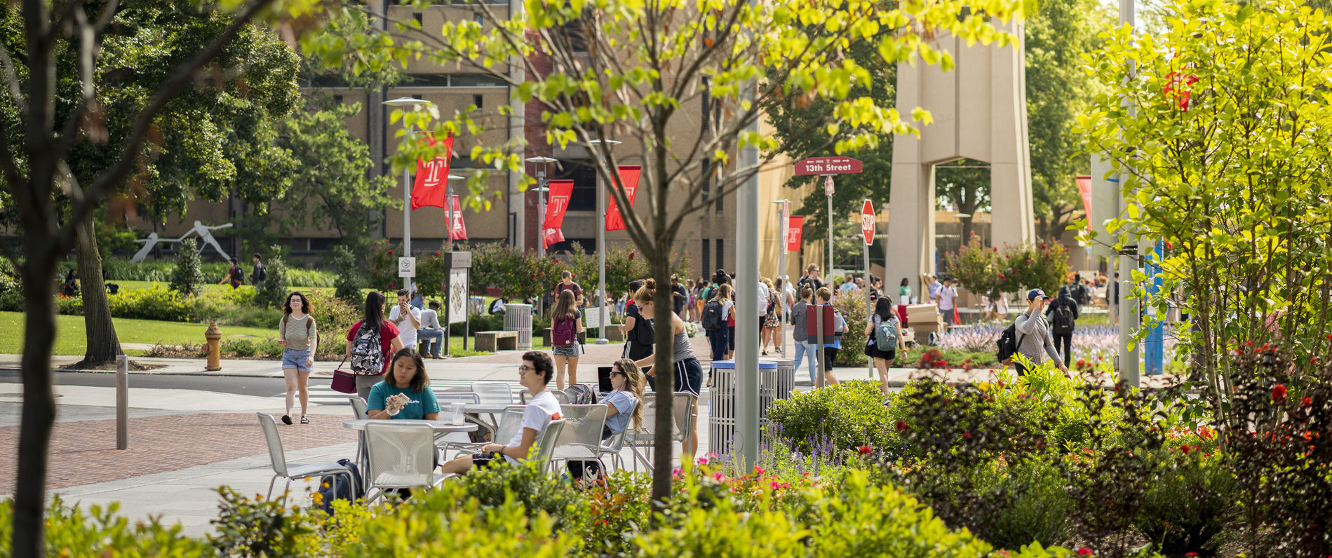 Temple University's campus in spring
