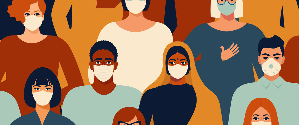 illustrated group of people wearing masks