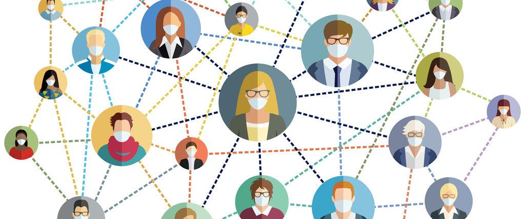 illustration of network of people wearing masks