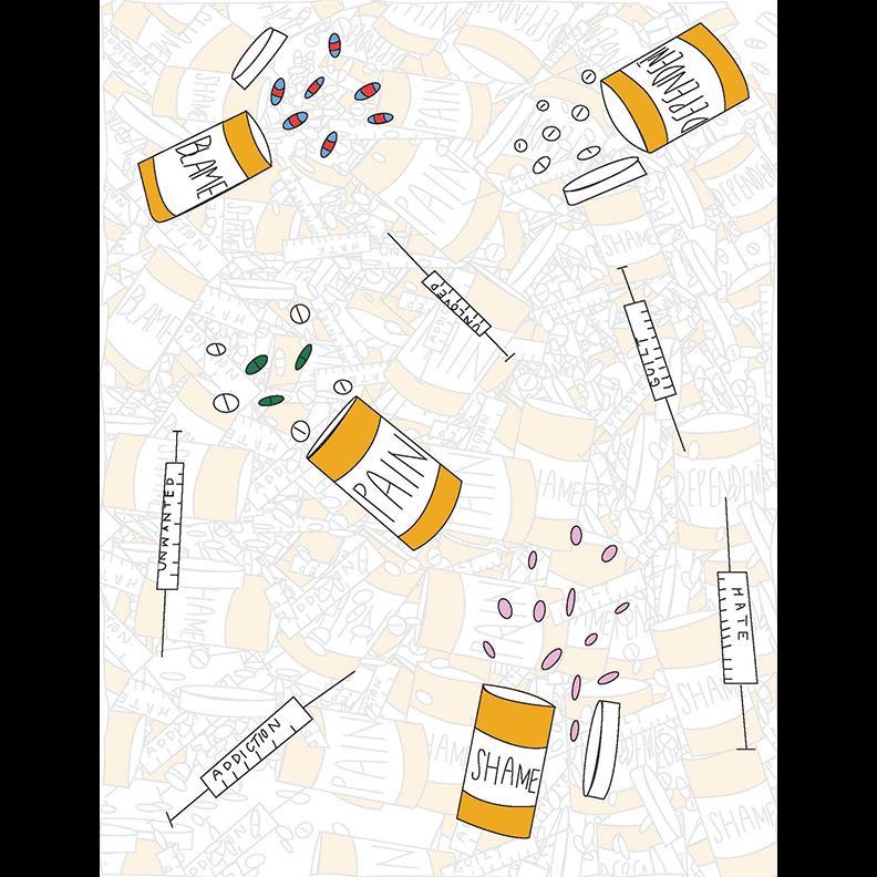 illustration of prescription bottles and syringes