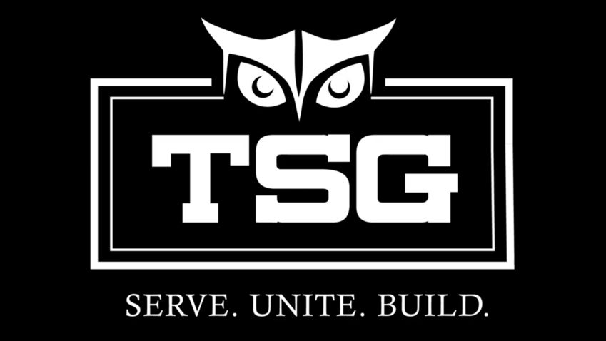 """temple student government logo. An owl graphic with the letters TSG and the caption, """"Serve. Unite. Build."""""""