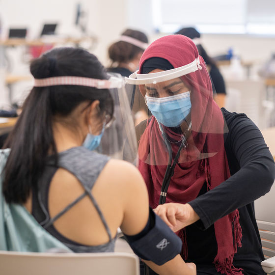 Ot student in face mask