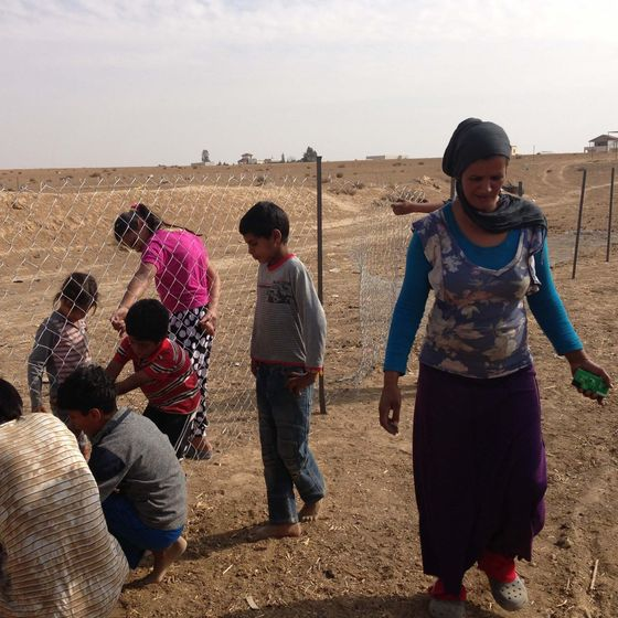 woman and children in the Negev desert