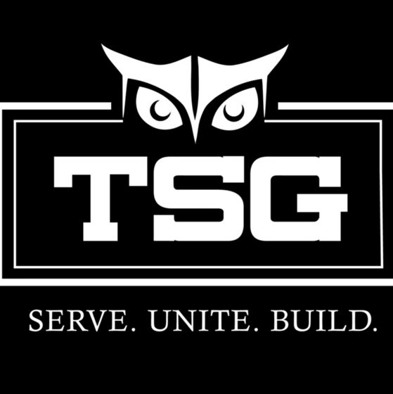 "temple student government logo. An owl graphic with the letters TSG and the caption, ""Serve. Unite. Build."""