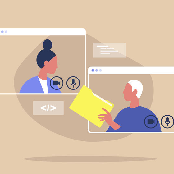 illustration of a man in a video chat window passing a yellow folder to a woman in another video chat window above him.