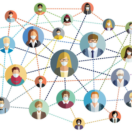 illustration of network of people wearing masks