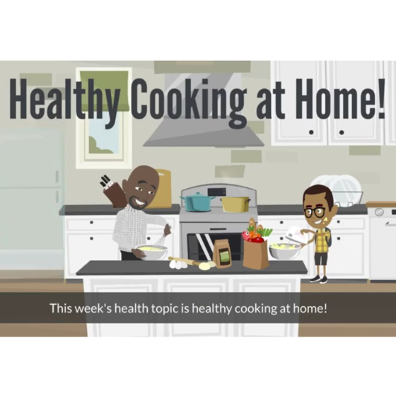 cartoon of a man and a boy cooking with the text: Healthy Cooking at Home!